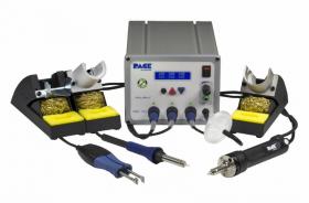 Многофункциональная трехканальная паяльная станция PACE MBT 350E с паяльником PS-90, вакуумным паяльником SX-100 и термопинцетом MT-100